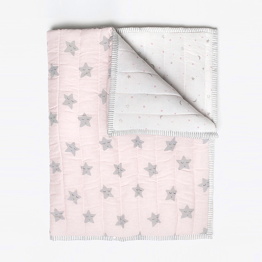 Masilo Organic Quilted Blanket - Pink Star