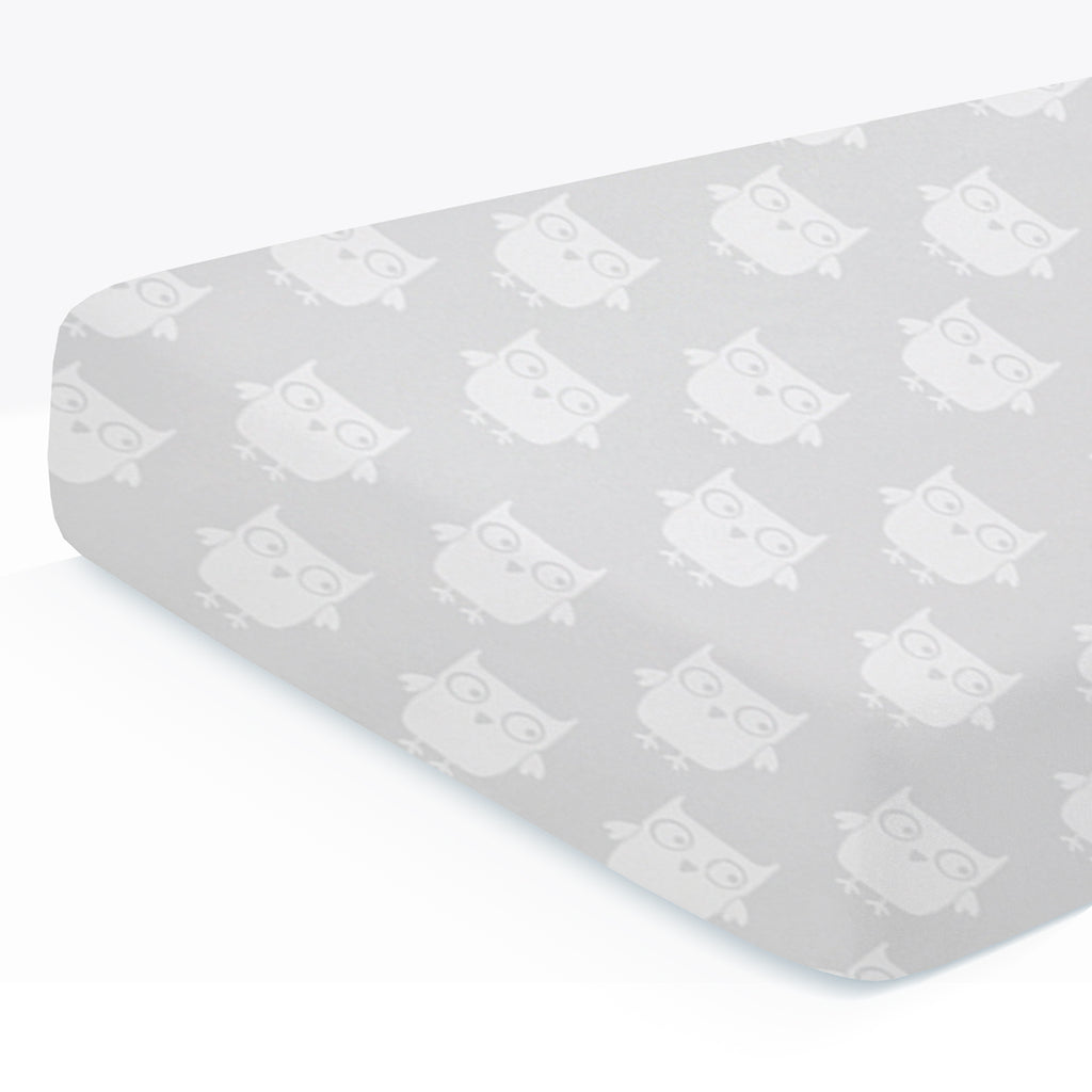100% Organic Cotton Fitted Crib Sheet Pack of 1- Owl