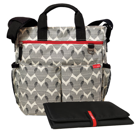 Skip Hop Duo Signature Diaper Bag with Portable Changing Mat, Hearts