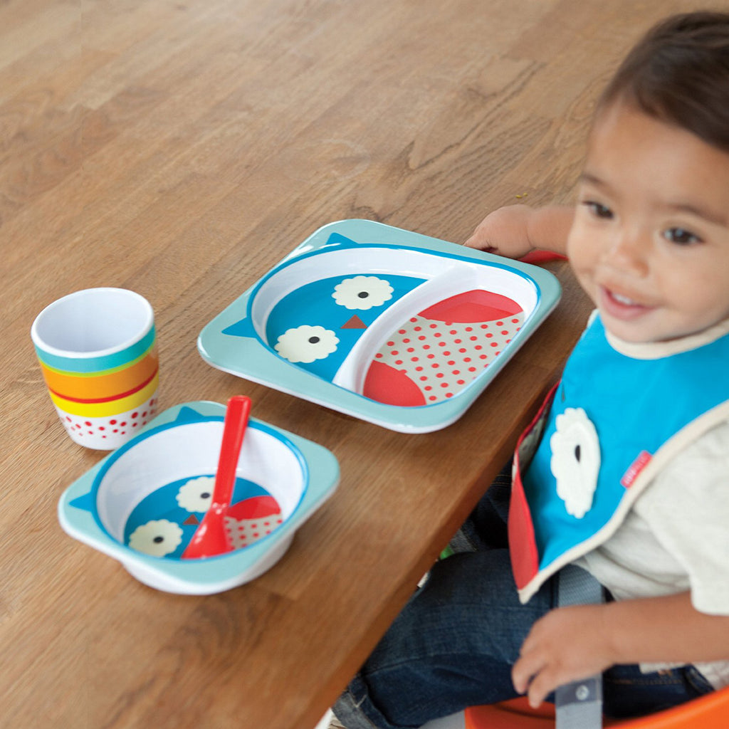 Skip Hop Baby Zoo Little Kid and Toddler Melamine Feeding Divided Plate, Owl