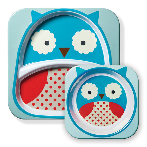 Skip Hop Baby Zoo Little Kid and Toddler Feeding Melamine Divided Plate and Bowl Mealtime Set, Owl