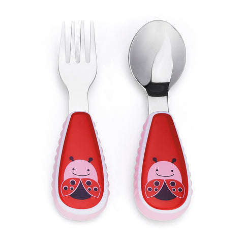 Skip Hop Baby Zoo Little Kid and Toddler Fork and Spoon Utensil Set, Ladybug