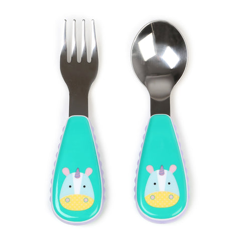 Skip Hop Baby Zoo Little Kid and Toddler Fork and Spoon Utensil Set, Unicorn