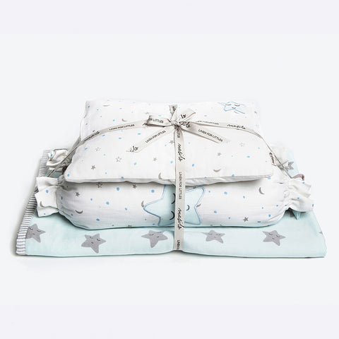 "New Baby Mini Cot Set<br> Blue Star<br><span style=""font-size: 10px;"">Can be Personalised</span>"