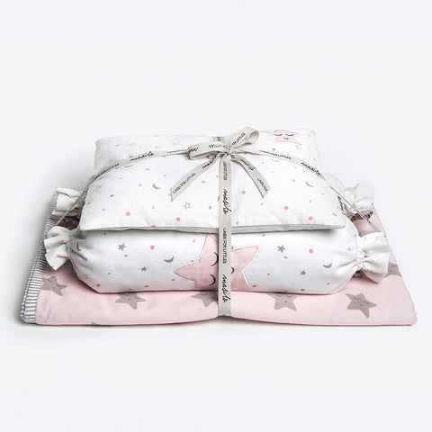 "New Baby Mini Cot Set<br> Pink Star<br><span style=""font-size: 10px;"">Can be Personalised</span>"