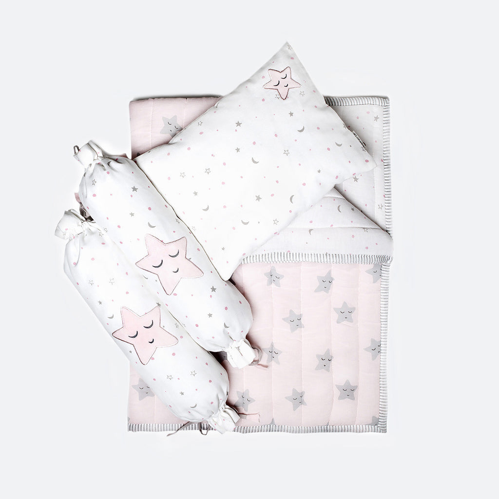 New Baby Mini Cot Set - Pink Star