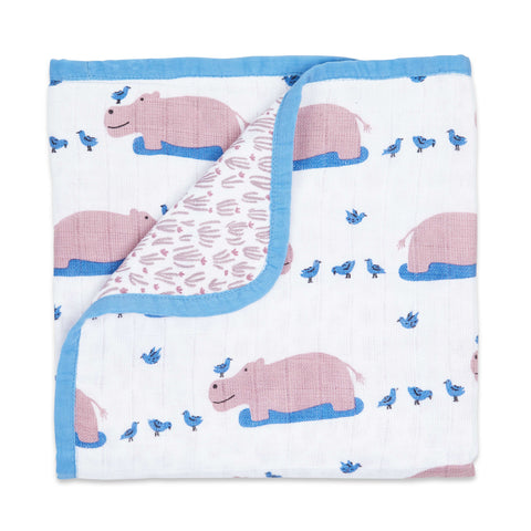 Masilo Organic Muslin Blanket - Happy As A Hippo