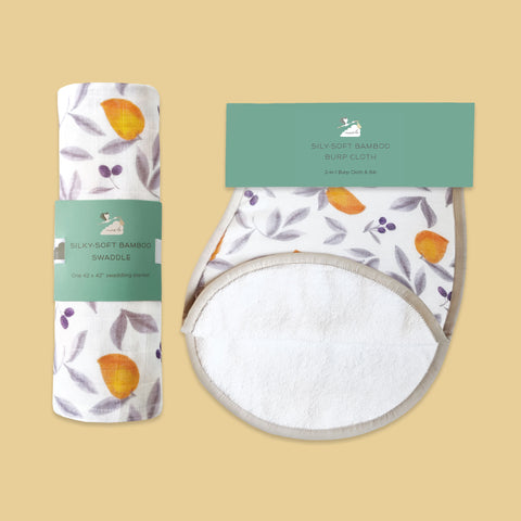 Masilo Swaddle & Burp Cloth Bib - Mango