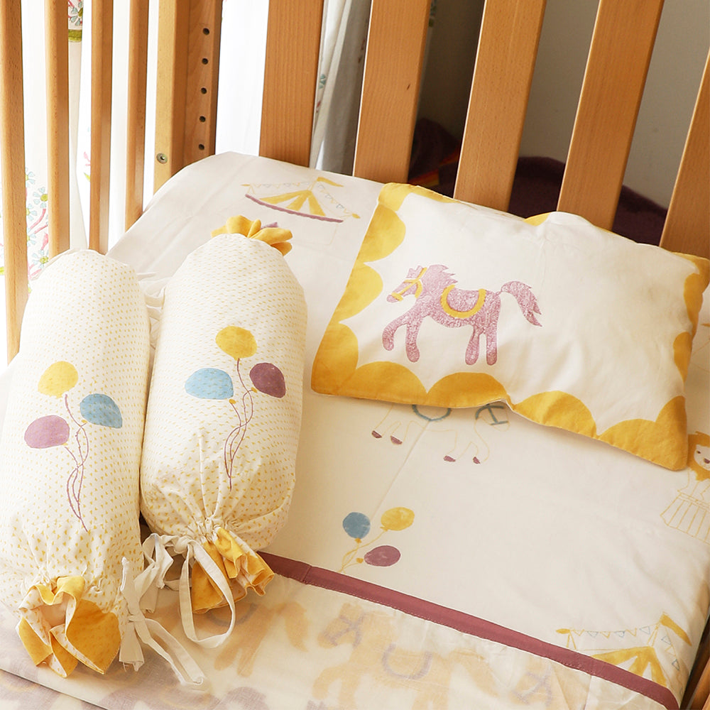 Cot Bedding Set - I am going to the Circus, Yellow