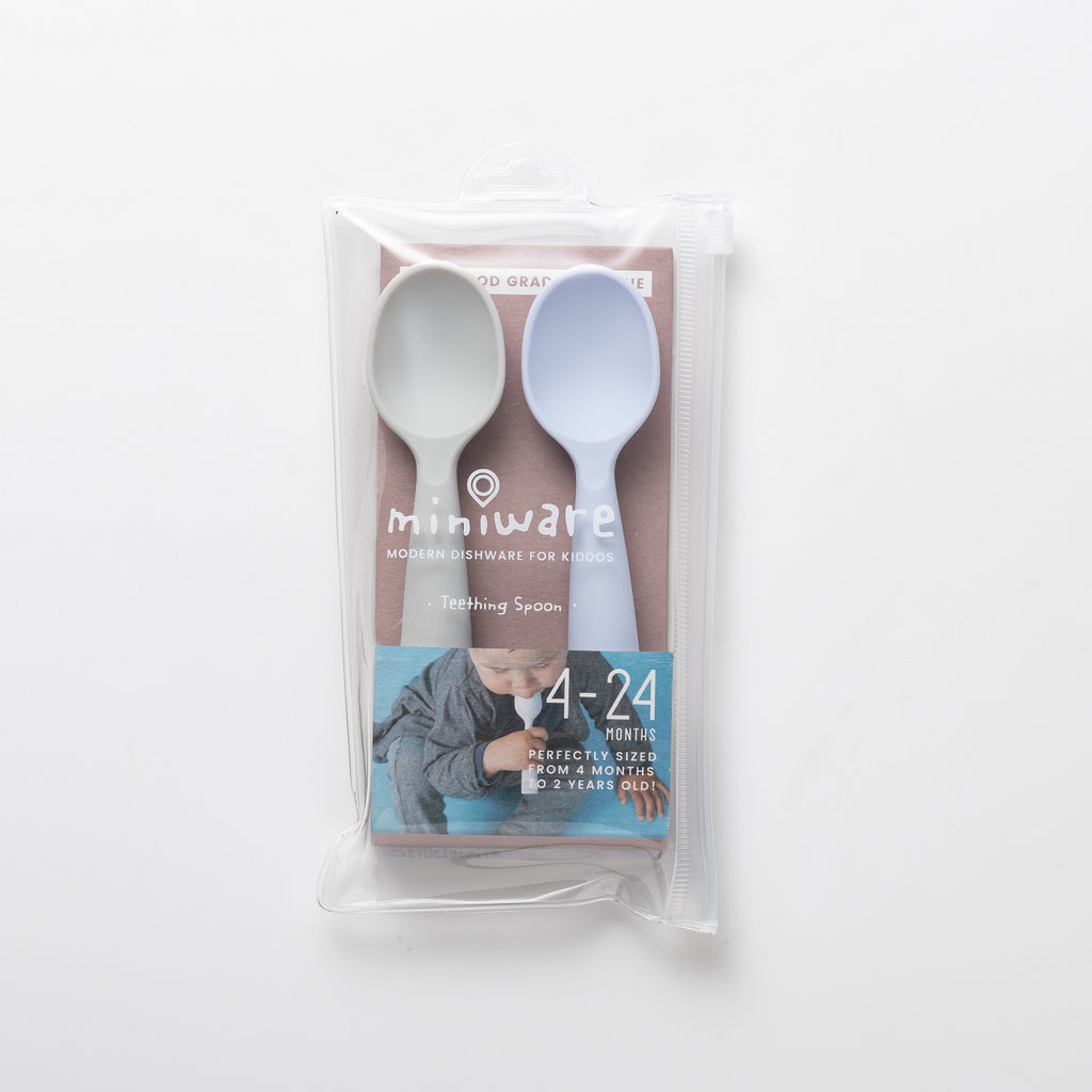 Miniware Teething Spoon Set, Grey/Lavender