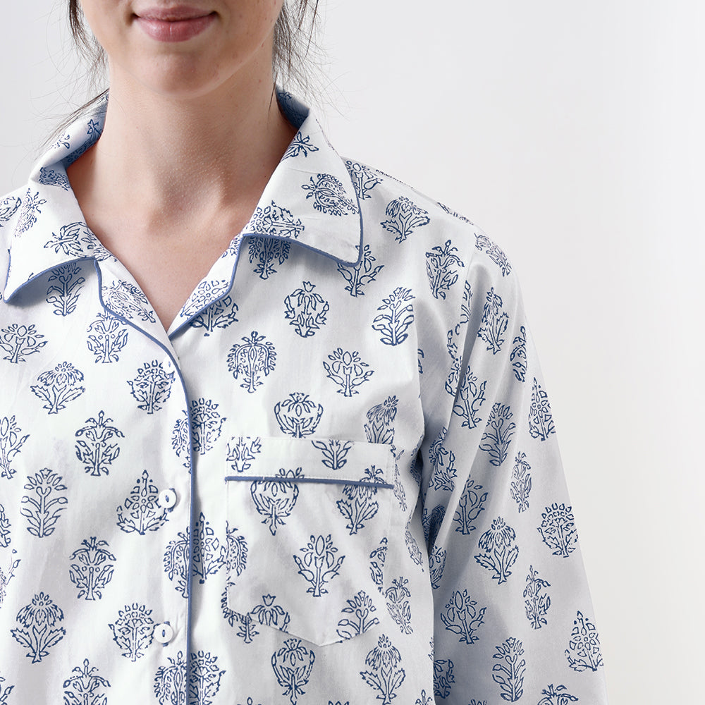 Madison Blockprint Pajama Set for Women (Indigo)