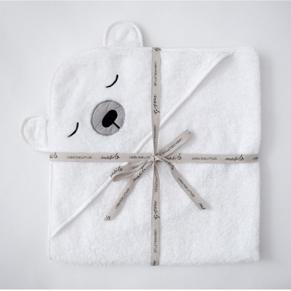 Masilo Organic Cotton Hooded Towel - Polar White