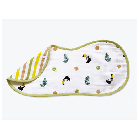 Masilo Organic Muslin Burp & Cloth Bib - Tropical Toucan