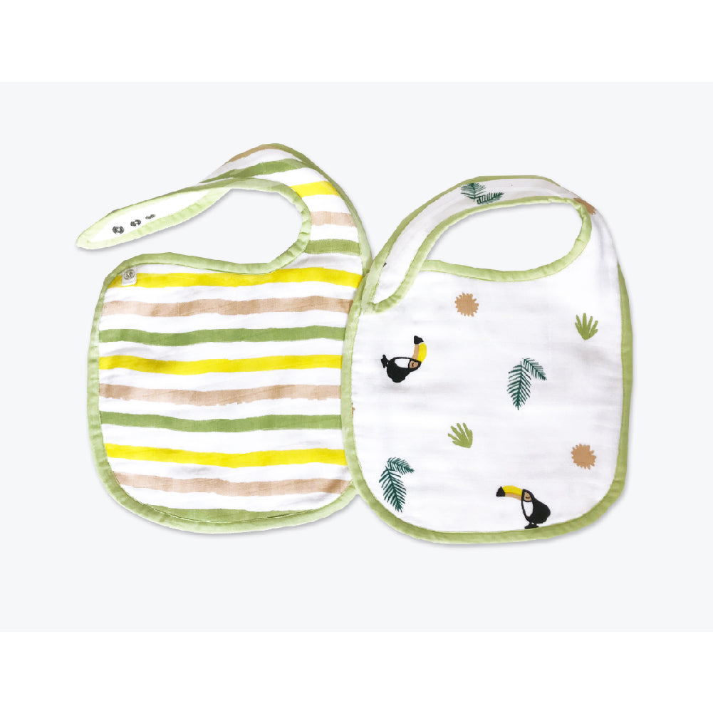 Classic Organic Muslin Bibs - Tropical Toucan, Set of 2
