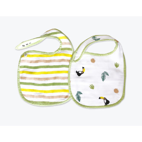 Masilo Classic Organic Muslin Bibs - Tropical Toucan, Set of 2