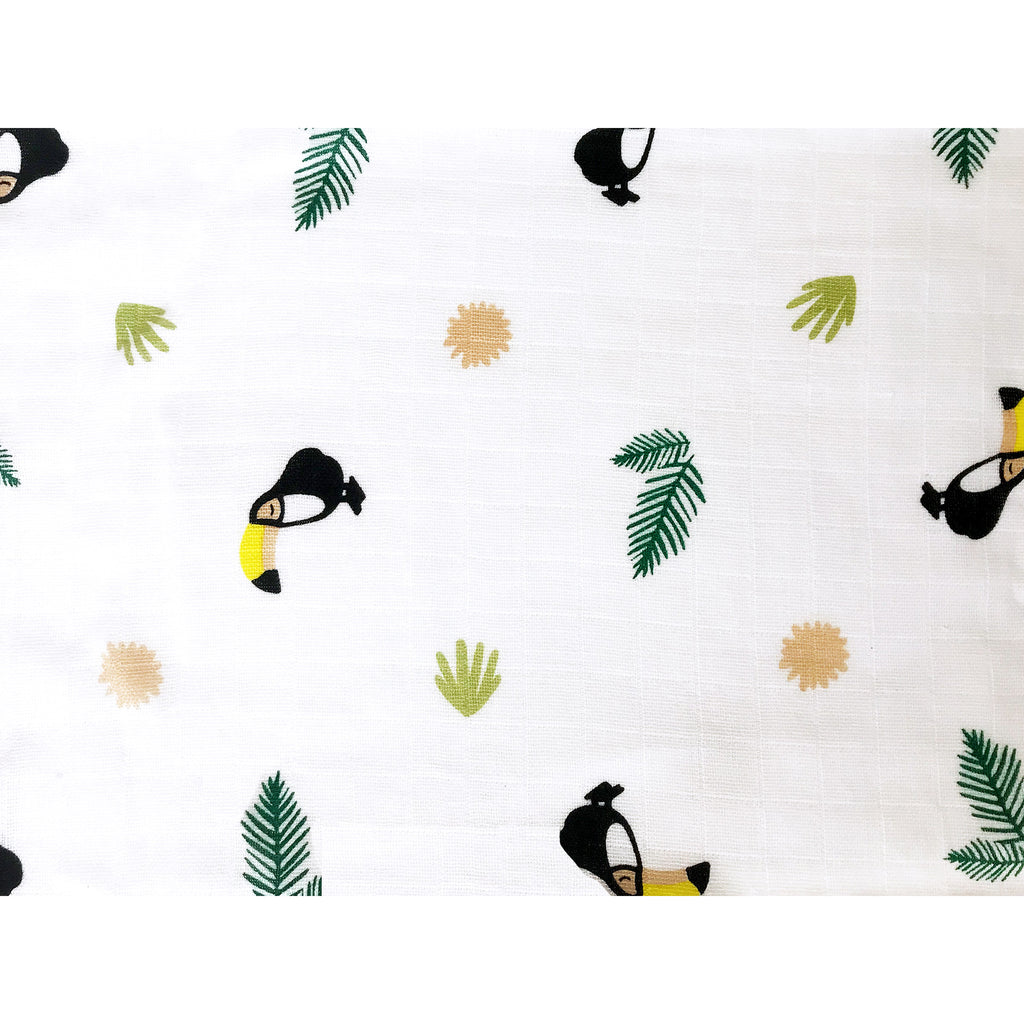 Masilo Organic Muslin Swaddles - Toucan, Set of 2