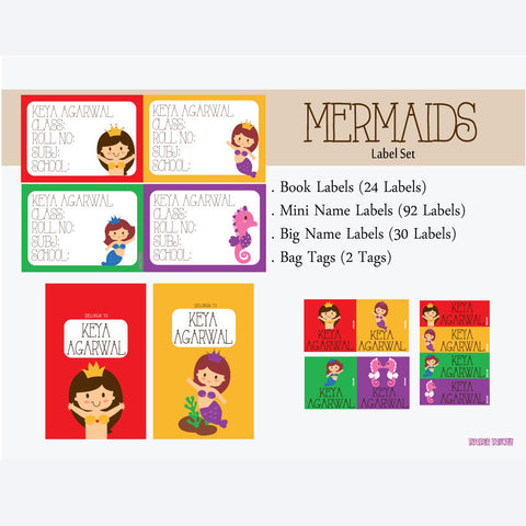 "Label Set <br/>Mermaid Theme<br><span style=""font-size: 11px; font-family:Helvetica,Arial,sans-serif;"">Assorted pack containing 146 labels and 2 bag tags </span>"