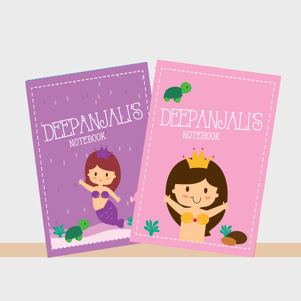 Personalised Notebooks - Mermaid, Set of 2