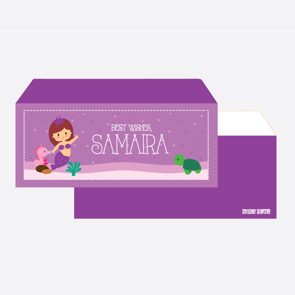 Personalised Envelopes - Mermaid, Set of 24