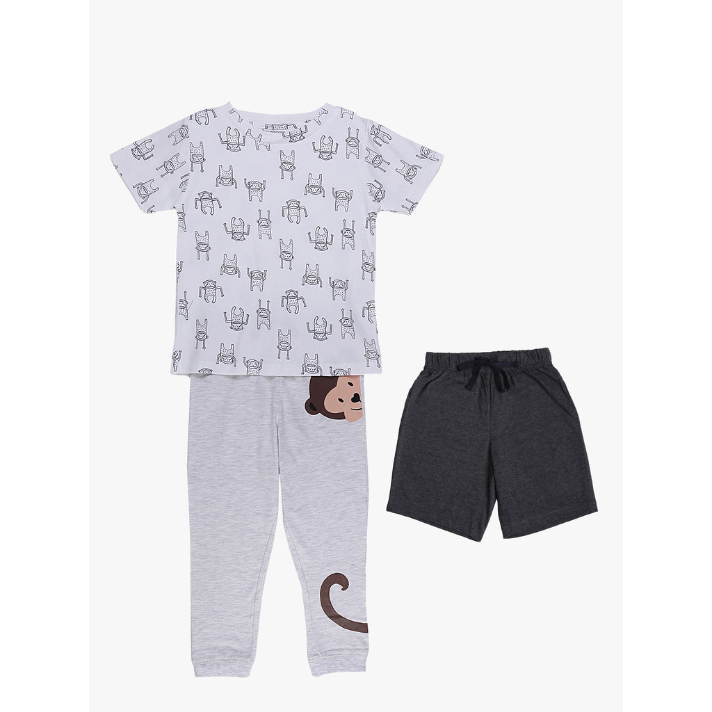 Boys 3pcs Lounge Set - Monkey Grey/White