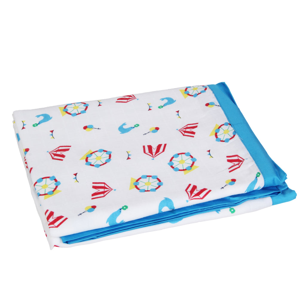 Muslin Blanket 2 Layered - Carnival, Blue