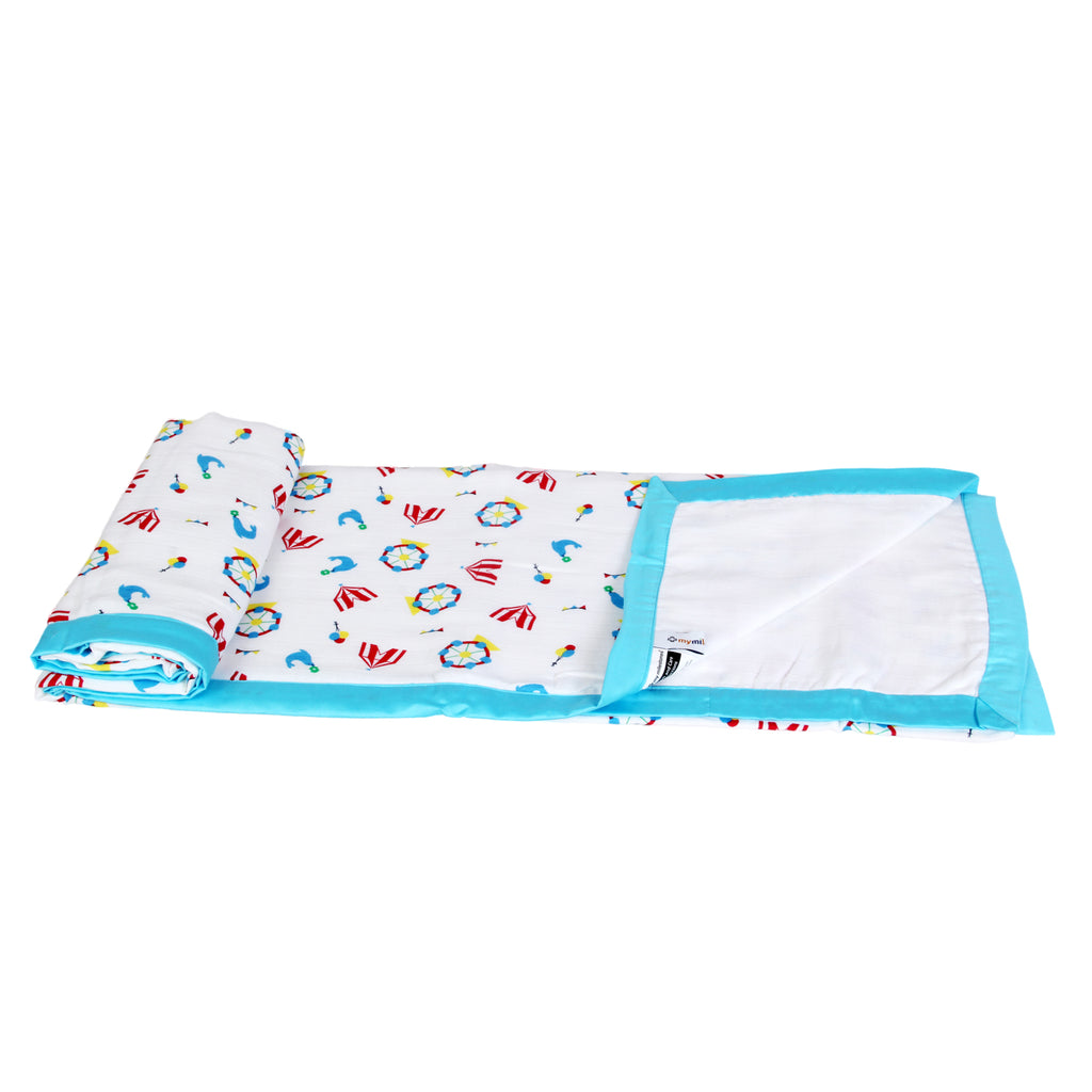 Muslin Blanket 3 Layered - Carnival, Blue