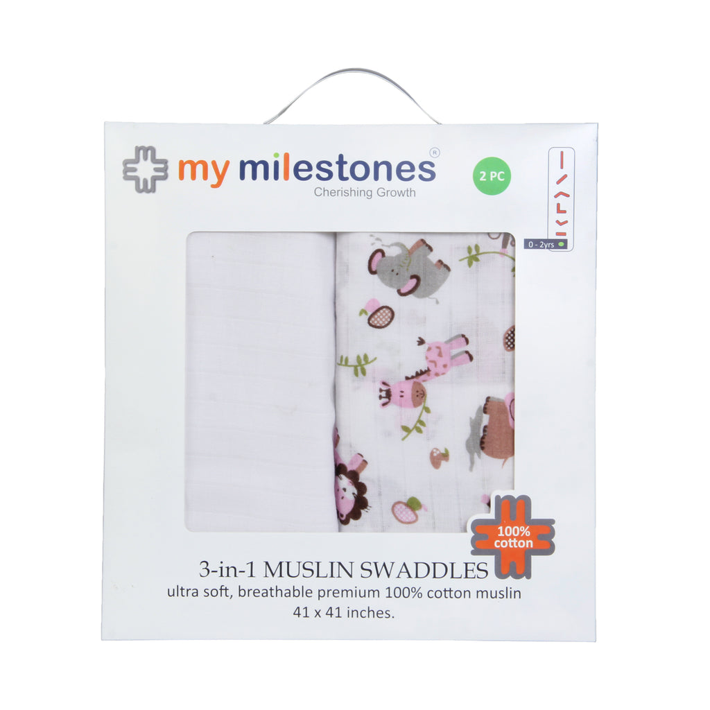 Muslin Swaddle - Pink (Pack of 2)
