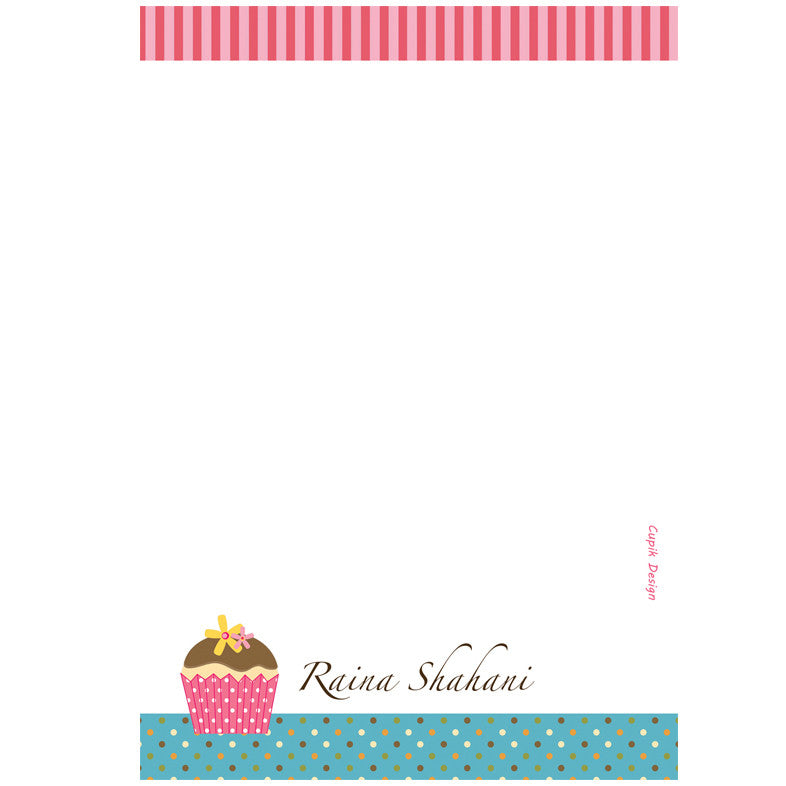 Personalised Note Sheets - Cupcakes, Set of 50 Sheets