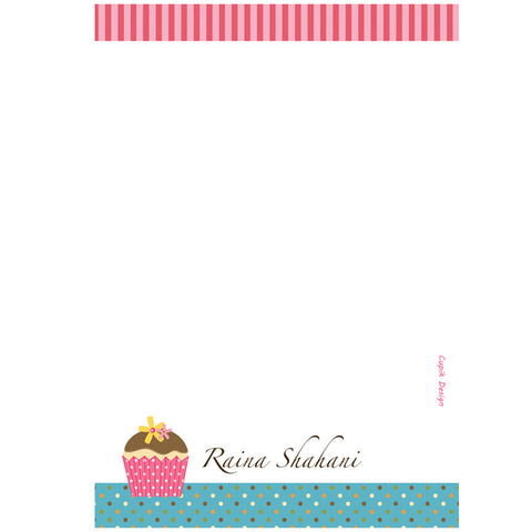 Note Sheets, Set of 50 Sheets<br/> Cupcakes