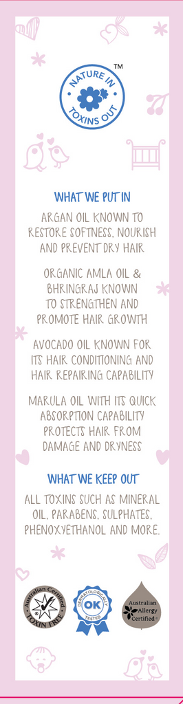 Natural Baby Hair Oil with Argan, Marula, Organic Amla and Bhringraj