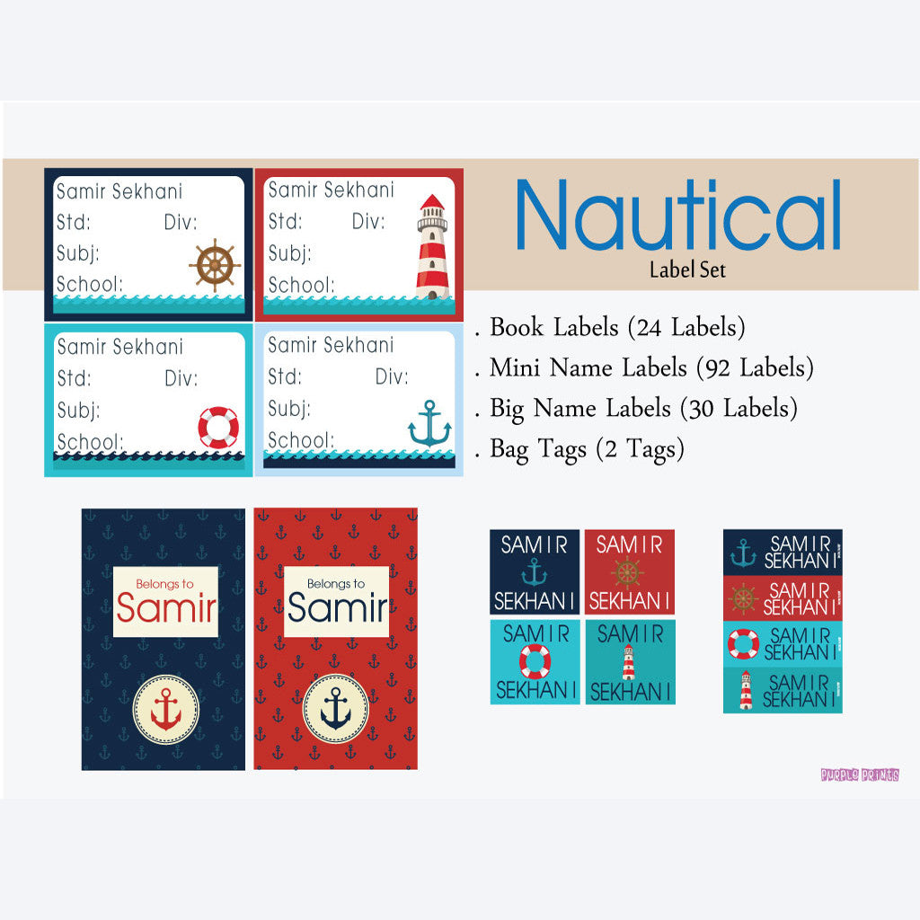 Label Set - Nautical, 146 labels and 2 bag tags