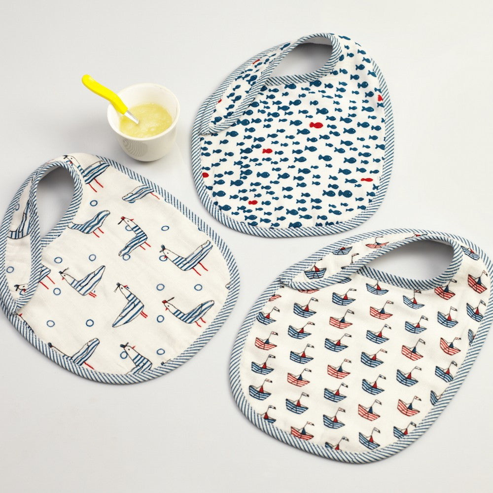 Nautical Muslin Bibs <br> Set of 3
