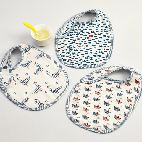 Nautical Muslin Bibs, Set of 3