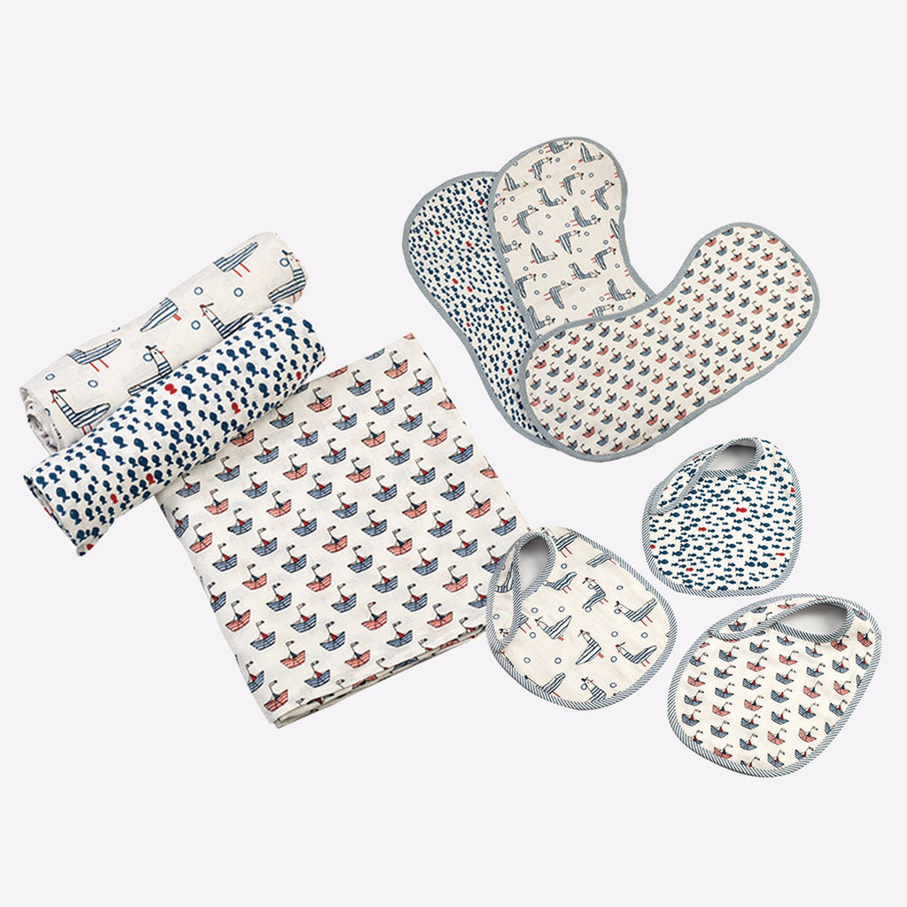 """New Beginnings"" Gift Set - Nautical, Set of Swaddles, Bibs & Burp Cloths"