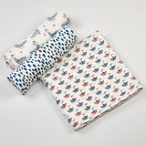 Nautical Muslin Swaddle Cloths <br> Set of 3