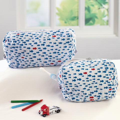 Nautical Travel Pouch Set <br> Set of 2 (Small & Large)