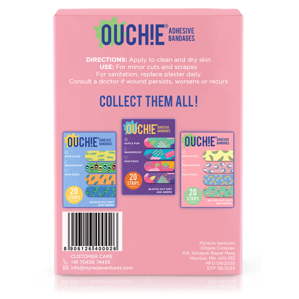 'Ouchie Printed Bandages'  Combo Pack of 3 (20 x 3 = 60) (2 Blue & 1 Pink)