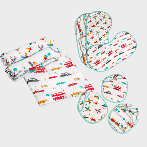"""New Beginnings"" Gift Set - Off-We-Go!, Set of Swaddles, Bibs & Burp Cloths"