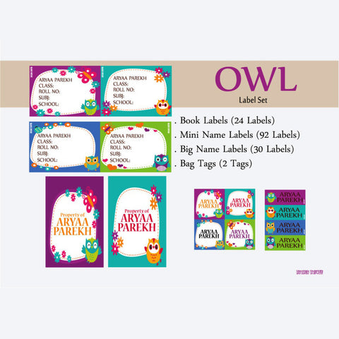 Label Set - Owl, 146 labels and 2 bag tags