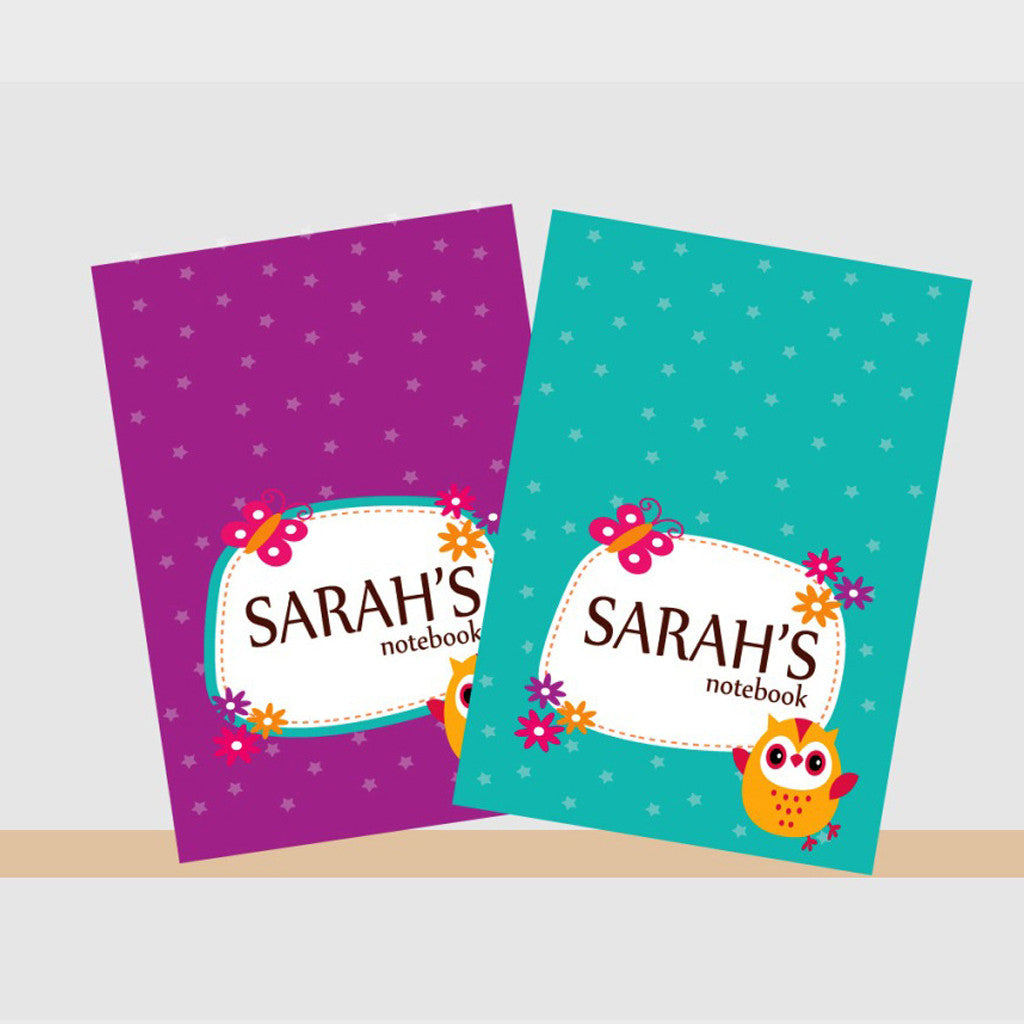 Personalised Notebooks - Owl, Set of 2