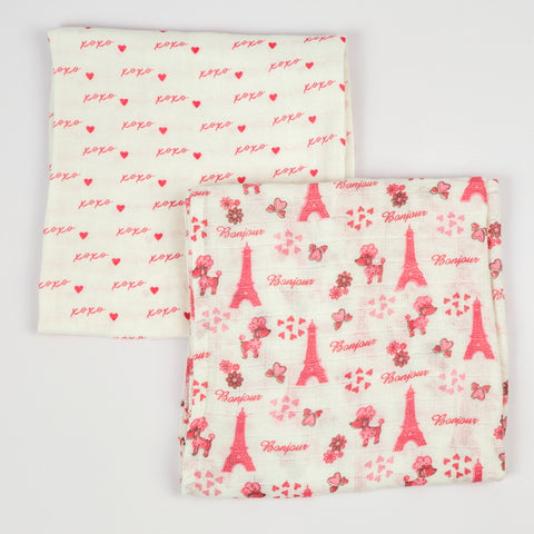 Paris Muslin Swaddle Cloths, Set of 2