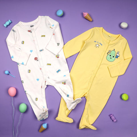 Party Pear Sleepsuits - Pack of 2 (NB, 0-24)