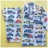 Kid's Pyjama Set - Transport(White)