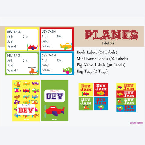 "Label Set <br/>Airplane Theme<br><span style=""font-size: 11px; font-family:Helvetica,Arial,sans-serif;"">Assorted pack containing 146 labels and 2 bag tags </span>"