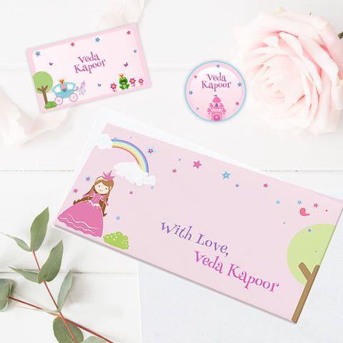 Personalised Gift Envelopes, Cards & Stickers Combo - Princess, Set of 130