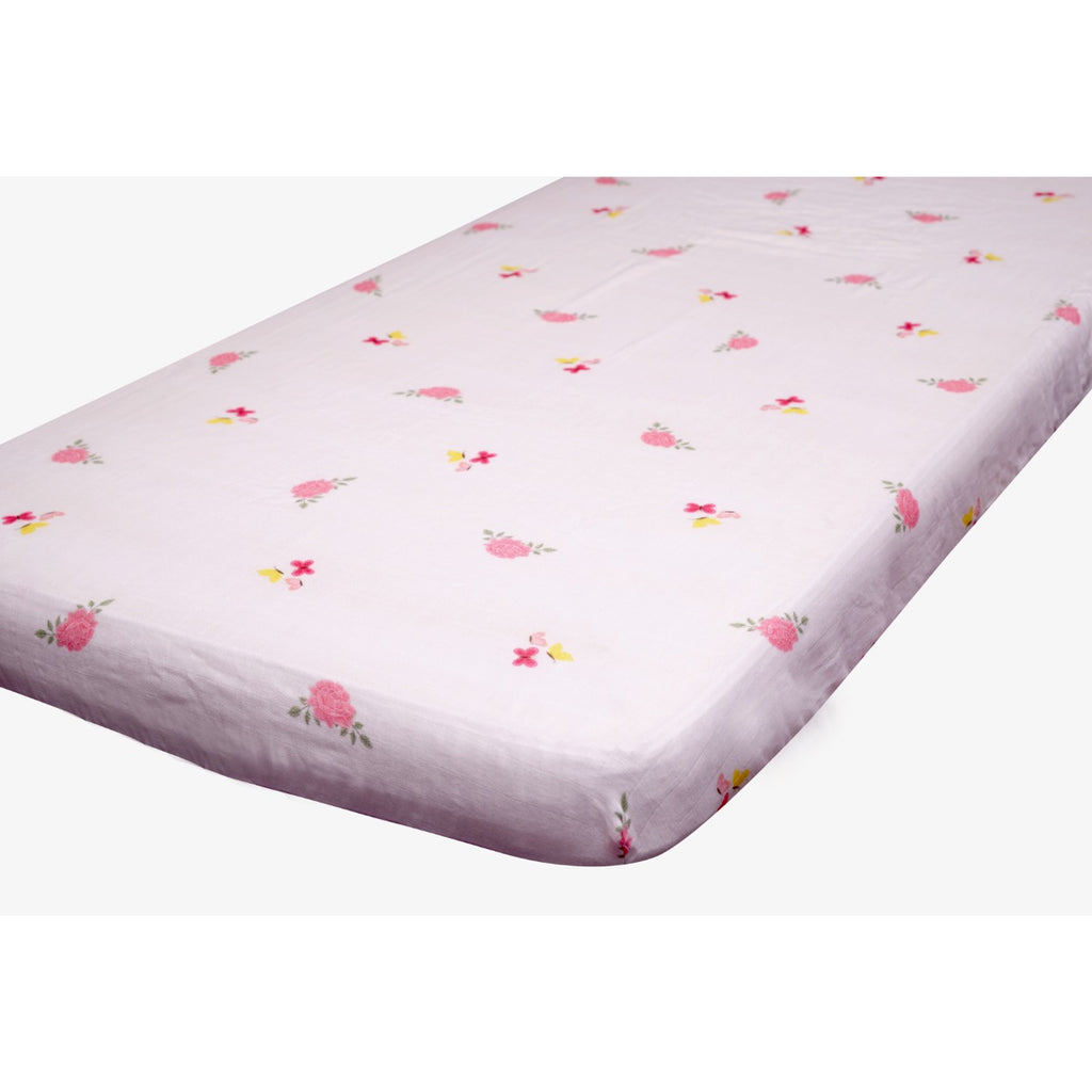 Little By Little Floral & Flutter Cot Bedding Set with Dohar Blanket, Pink