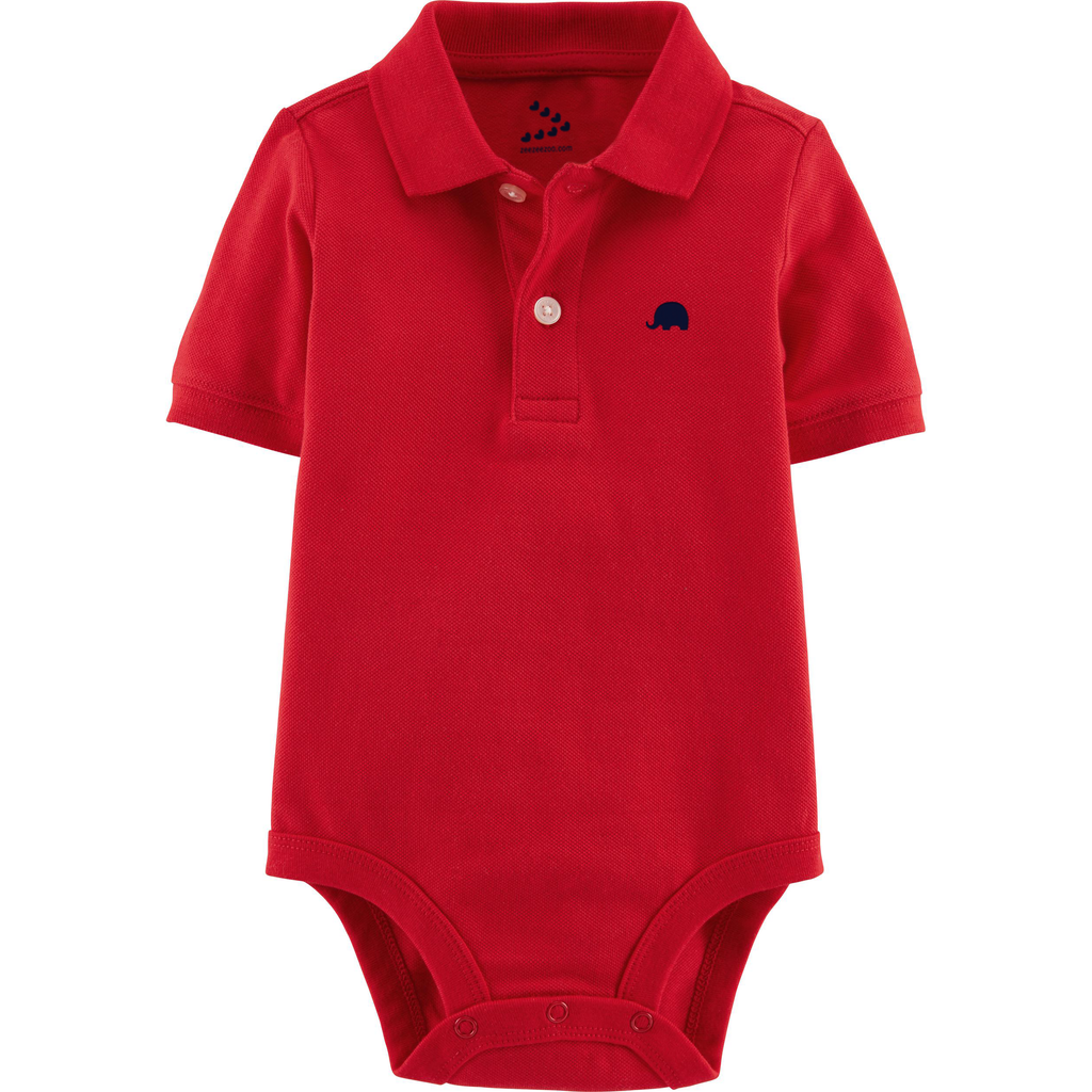 Pique Polo Onesie Set of 2 (Red & Yellow)