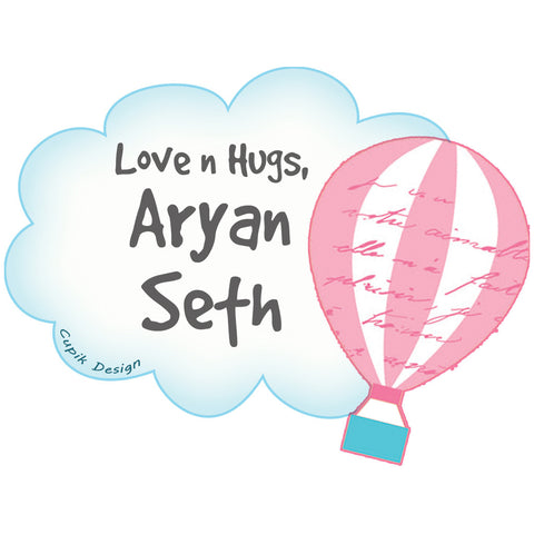 Personalised Gift Stickers - Hot Air Balloon, Set of 18
