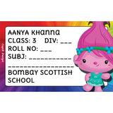 Personalised School Book Labels - Trolls, Pack of 20