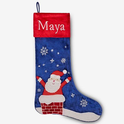 Personalised Stocking - Santa In Chimney